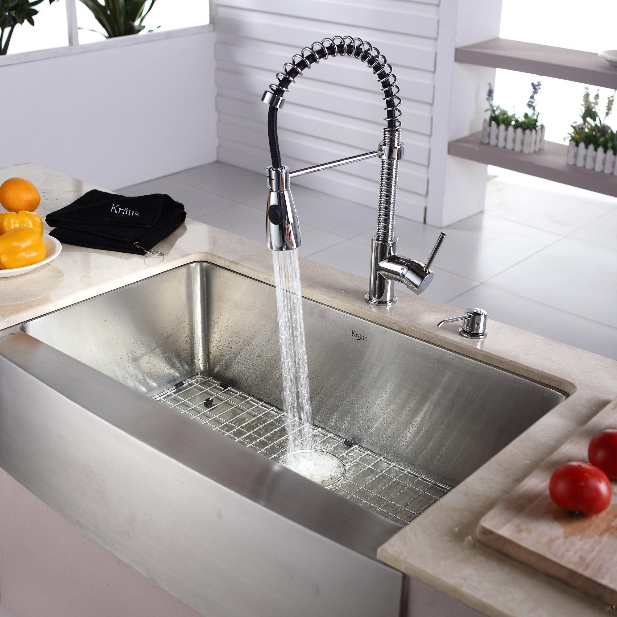 rectangle apron sink plus silver faucet on cream countertop for kitchen decor ideas