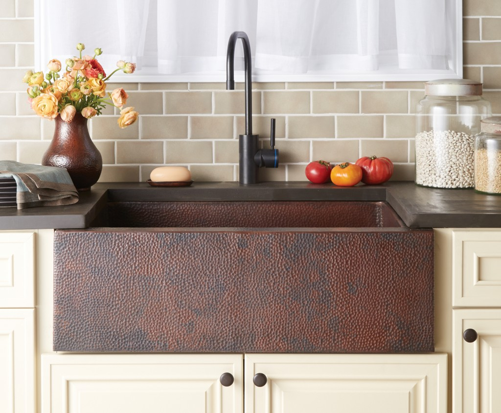 rectangle brown apron sink plus black faucet with dark brown countertop for kitchen decor ideas