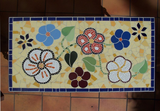 Rectangle Mosaic Bistro Table With Flowers Motif For Home Furniture Ideas