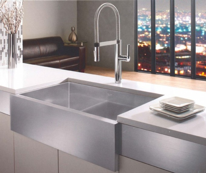 Rectangle Silver Apron Sink Plus Faucet On Kitchen Cabinet With Countertop For Kitchen Decor Ideas