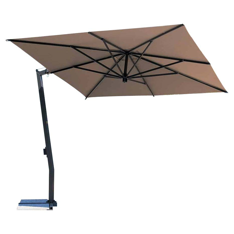 rectangle tan cantilever patio umbrella with black metal stand for patio furniture ideas