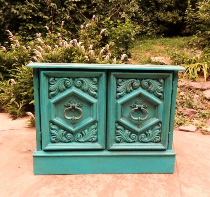 Rectangle Turquoise Nightstand With Double Storage And Silver Handle Plus Floral Ornament For Home Furniture Ideas
