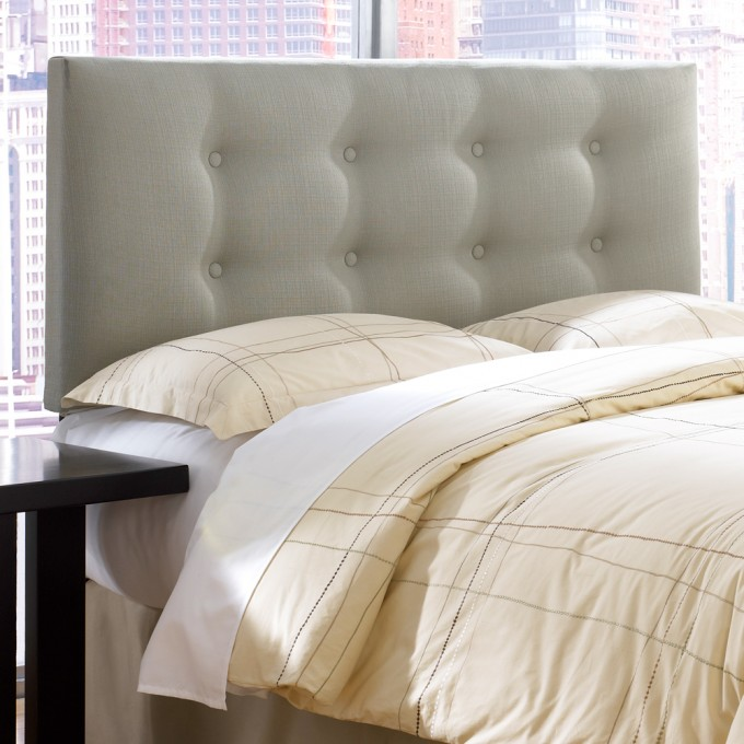 Rectangle Upholstered Headboards In Gray With Cream Bedding Plus Pillow And Black Nightstand For Bedroom Decor Ideas