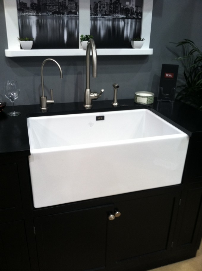 Rectangle White Apron Sink On Black Cabinet With Black Countertop For Bathroom Decor Ideas