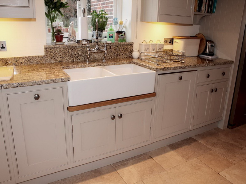 rectangle white apron sink on wooden cabinet for home furniture ideas