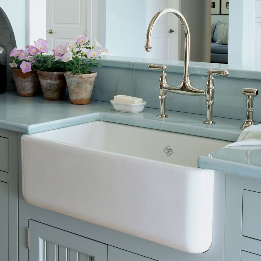rectangle white apron sink plus bridge faucet on blue kitchen cabinet with blue countertop for kitchen decor ideas