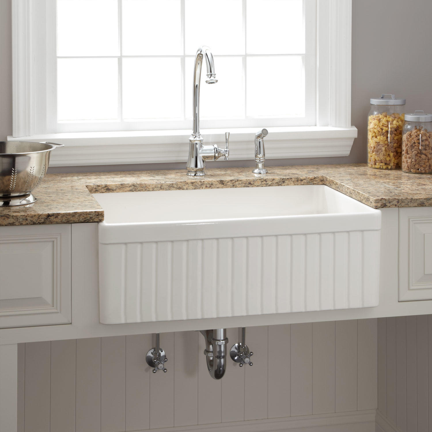 Rectangle White Apron Sink Plus Faucet On Brown Countertop Before The Grey Wall With White Window For Kitchen Decor Ideas