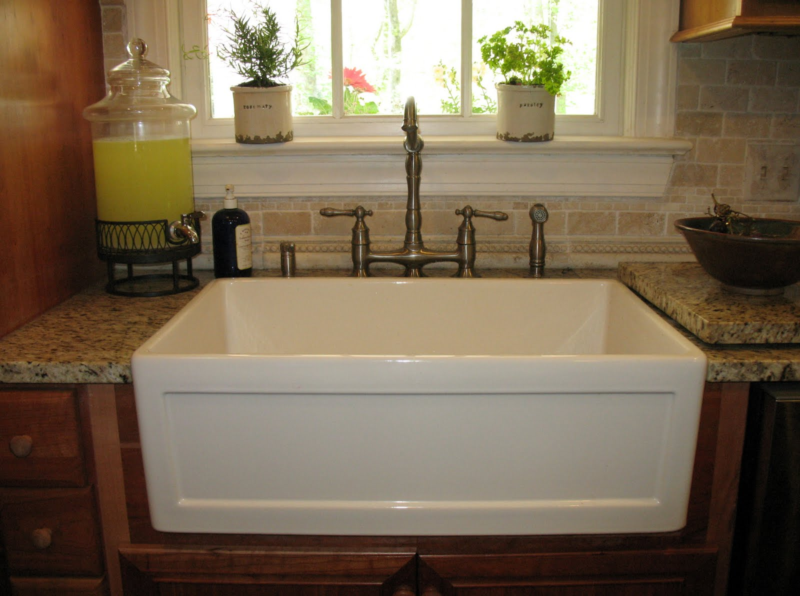 rectangle white apron sink plus faucet on wooden kitchen cabinet with countertop for kitchen furniture ideas
