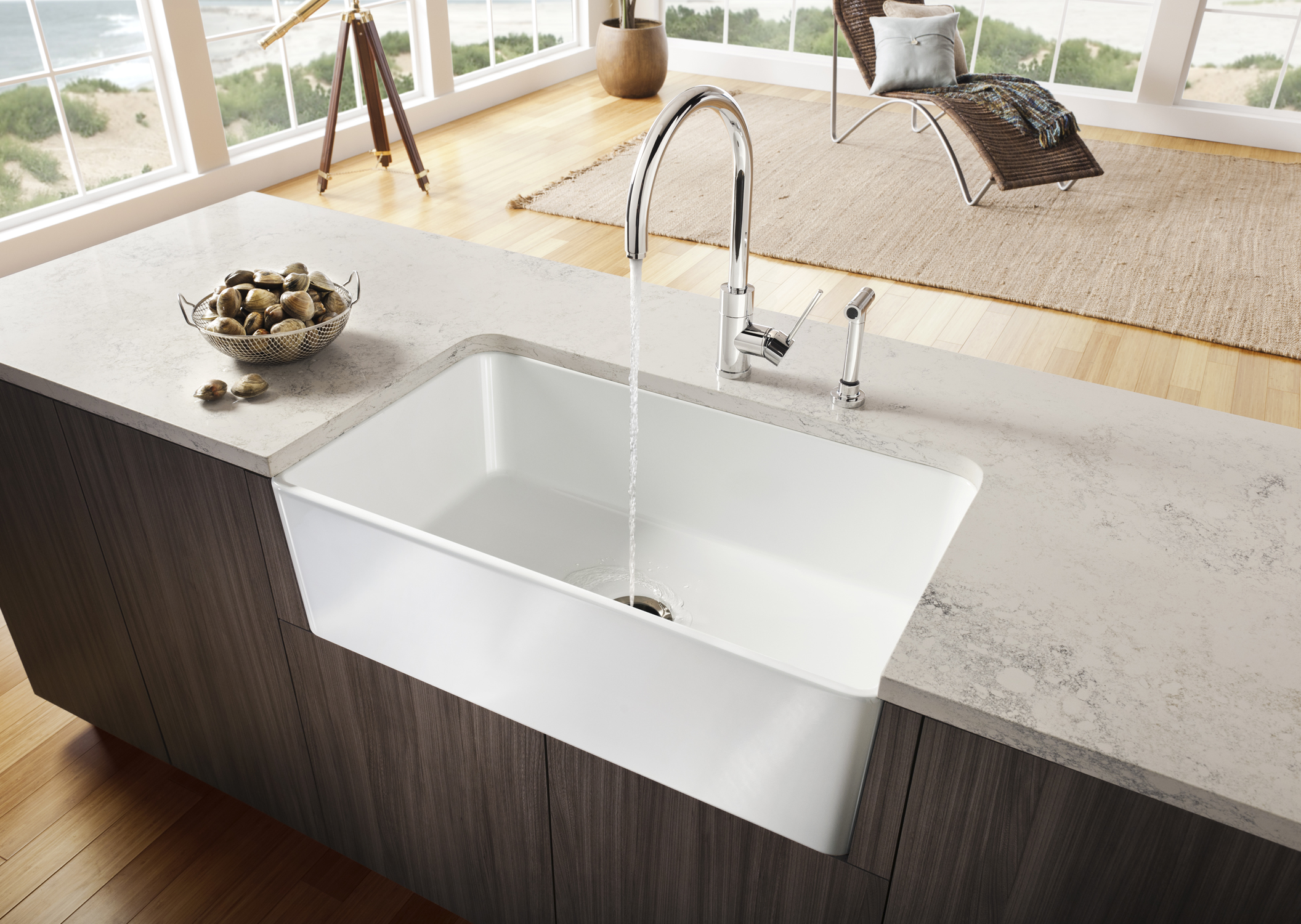 rectangle white apron sink plus faucet plus white marble countertop for kitchen decor ideas