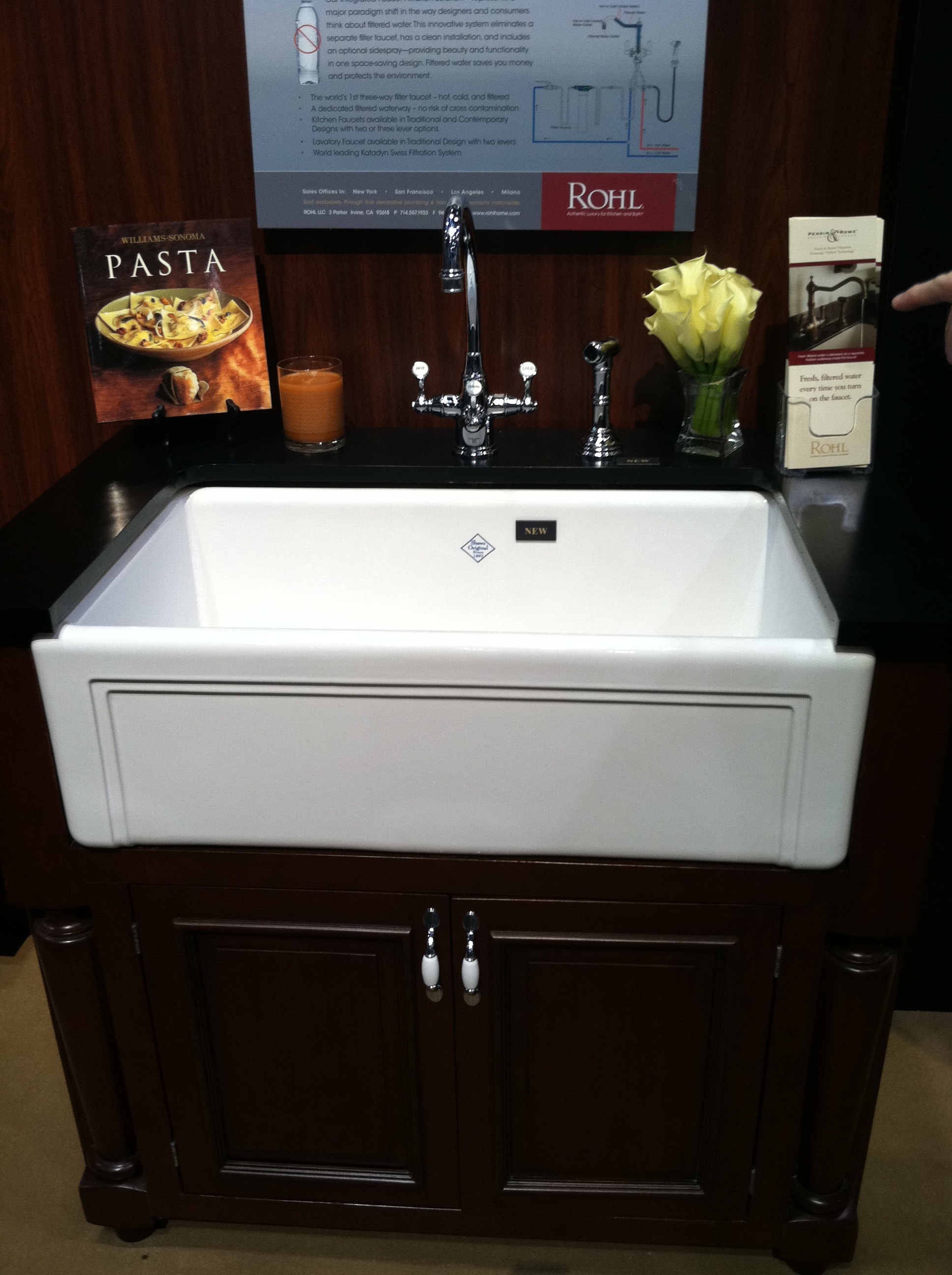 rectangle white porcelain apron sink on black wooden kitchen cabinet plus silver faucet for kitchen furniture ideas