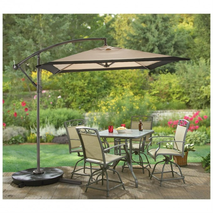 Rectangular Cantilever Patio Umbrella With Metal Stand Plus Dining Table For Patio Decor Ideas