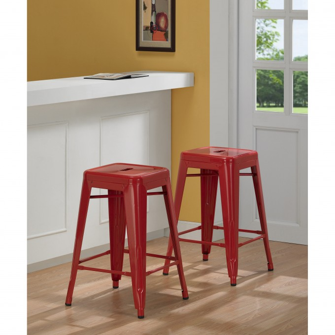 Red 24 Inch Counter Stools On Wooden Floor Matched With Yellow Wall Plus White Door For Home Decor Ideas