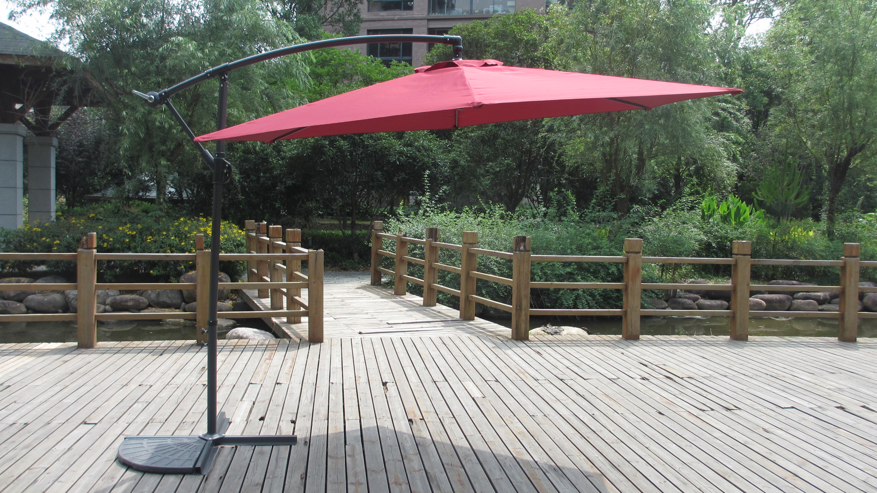Furniture Red Cantilever Patio Umbrella With Black Stand For