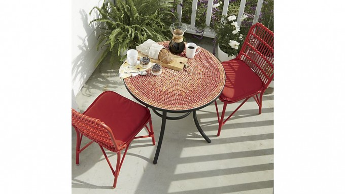 Red Mosaic Bistro Table With Red Chairs For Home Furniture Ideas