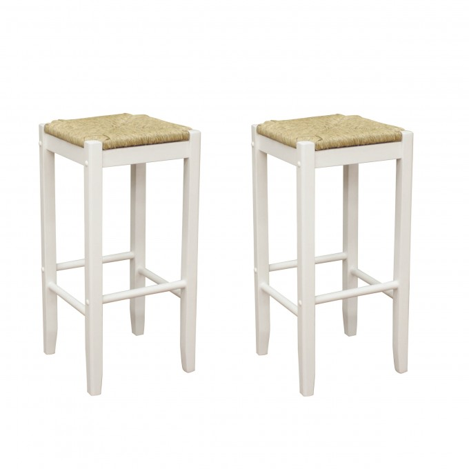 Roanoke White Wood 24 Inch Counter Stools With Cream Seat For Home Furniture Ideas