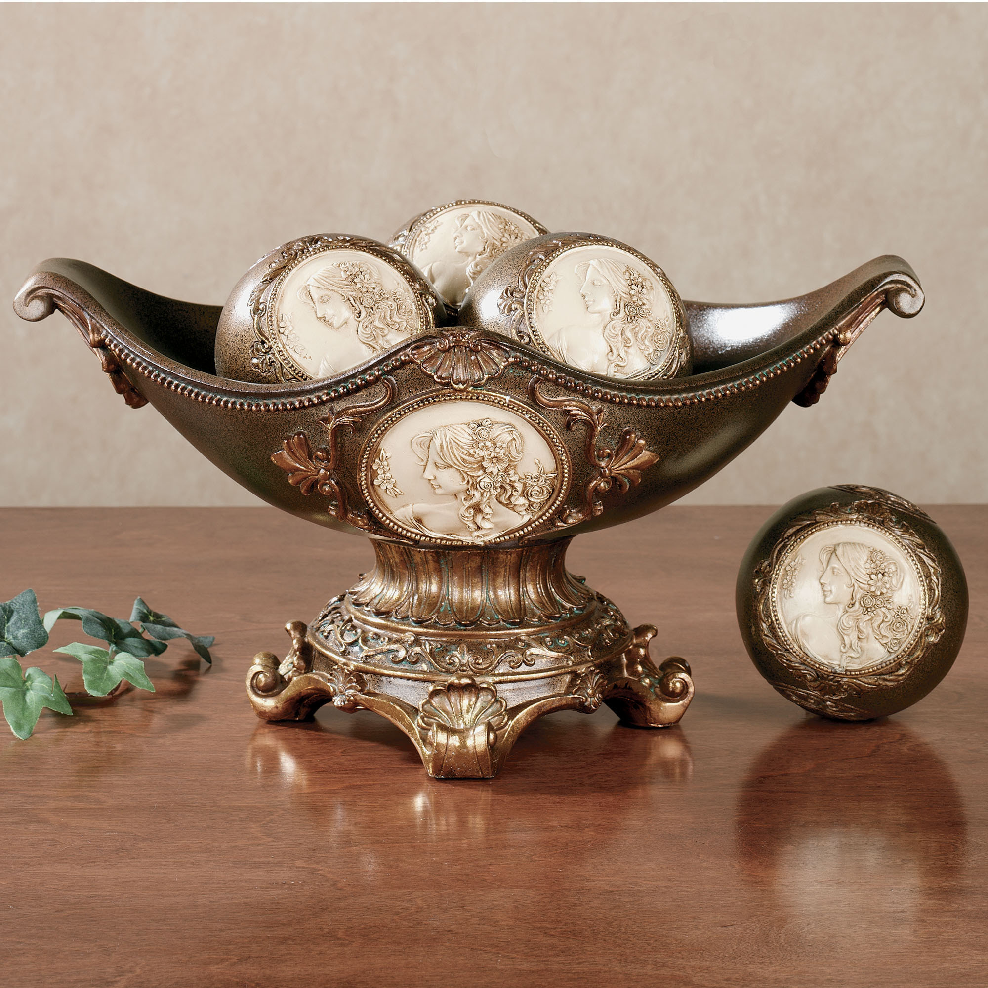 Rossella Cameo Centerpiece Bowl With Decorative Orbs For Table Accessories  Ideas