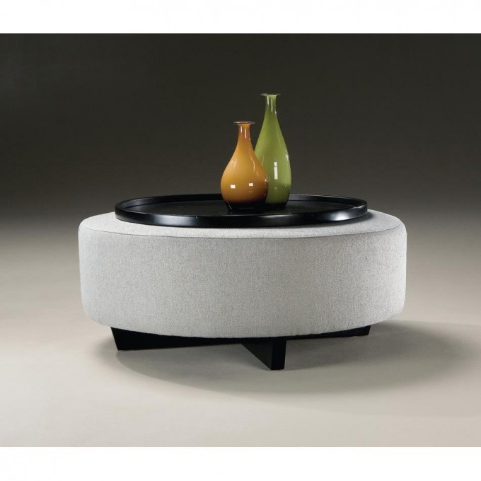 Round Black Large Ottoman Tray On Round White Ottoman With Black Legs For Home Furniture Ideas