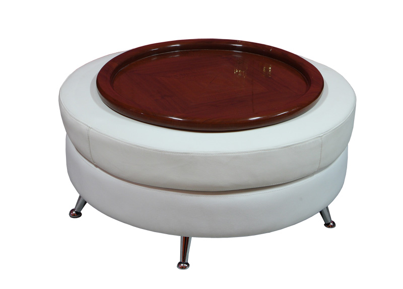 Round Brown Wooden Large Ottoman Tray On White Ottoman With Silver Legs For Home Furniture Ideas