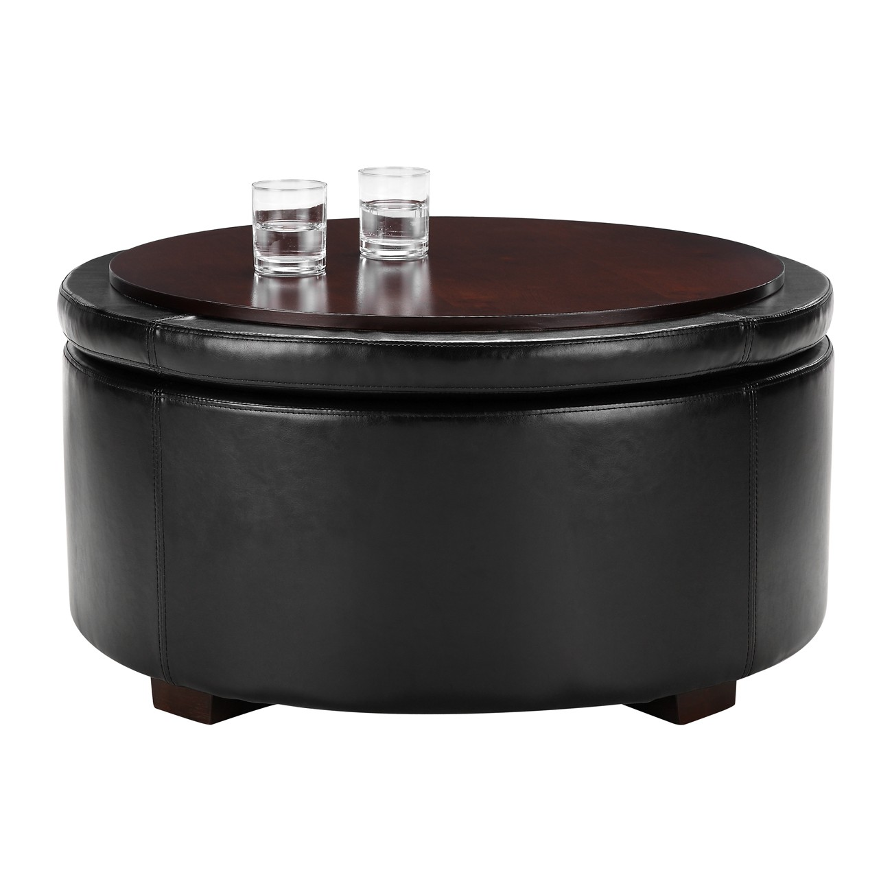 round flat brown wooden large ottoman tray on black leather ottoman for home furniture ideas