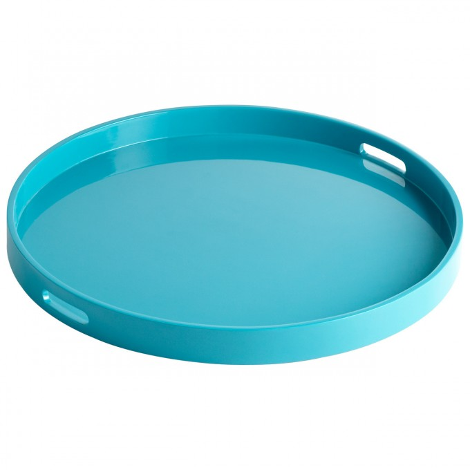 Round Large Ottoman Tray In Blue For Home Furniture Ideas
