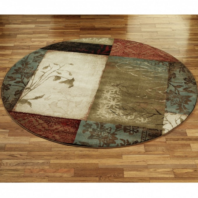 Round Lowes Rugs With Floral Motif For Floor Decor Ideas