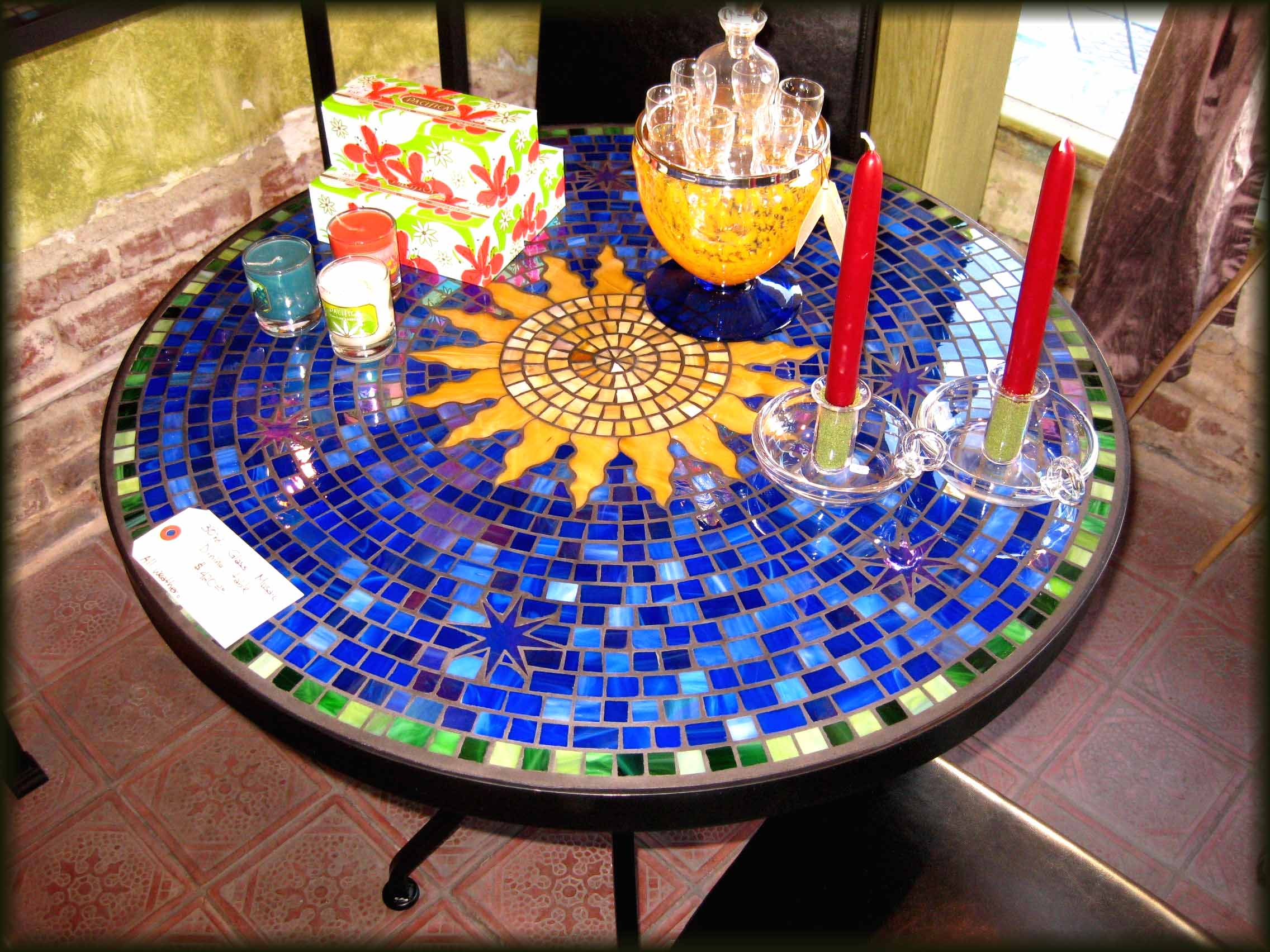 Round Melamine Mosaic Bistro Table In Blue Theme On Top With Black Legs For Patio Furniture Ideas