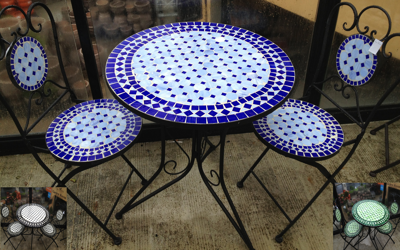 round Mosaic Bistro Table in blue with black legs plus matching chairs for home furniture ideas