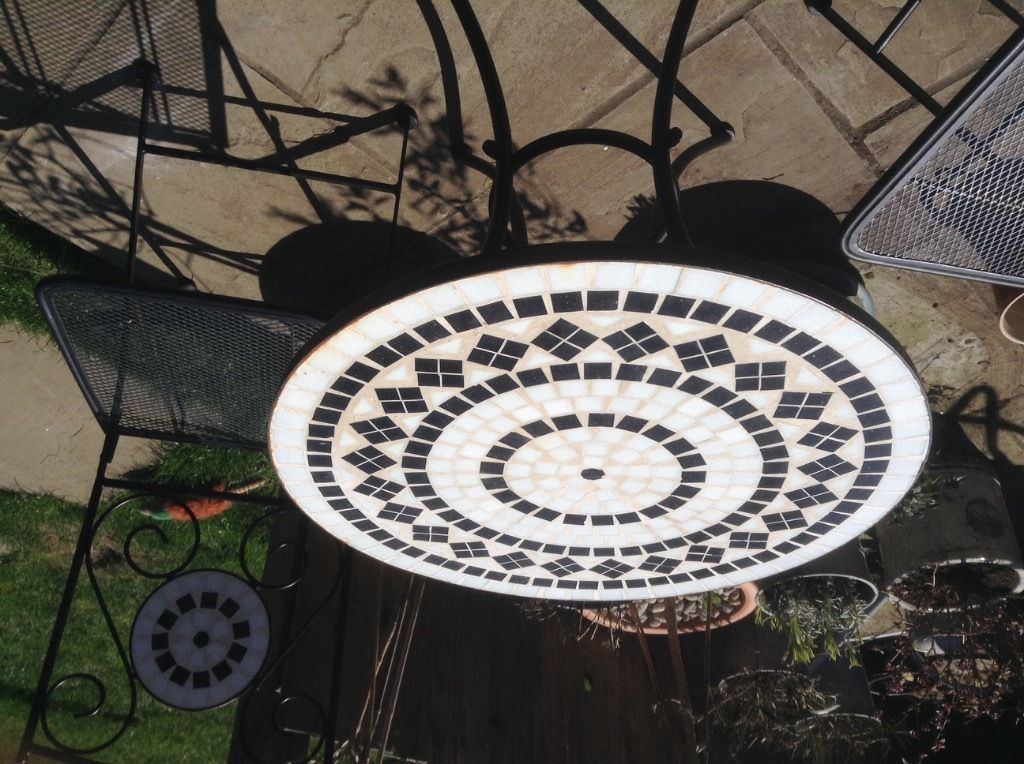 round mosaic Bistro Table in white dominant for home furniture ideas