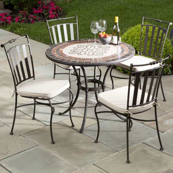 Round Mosaic Bistro Table With Black Legs And Chairs With White Seat For Home Furniture Ideas