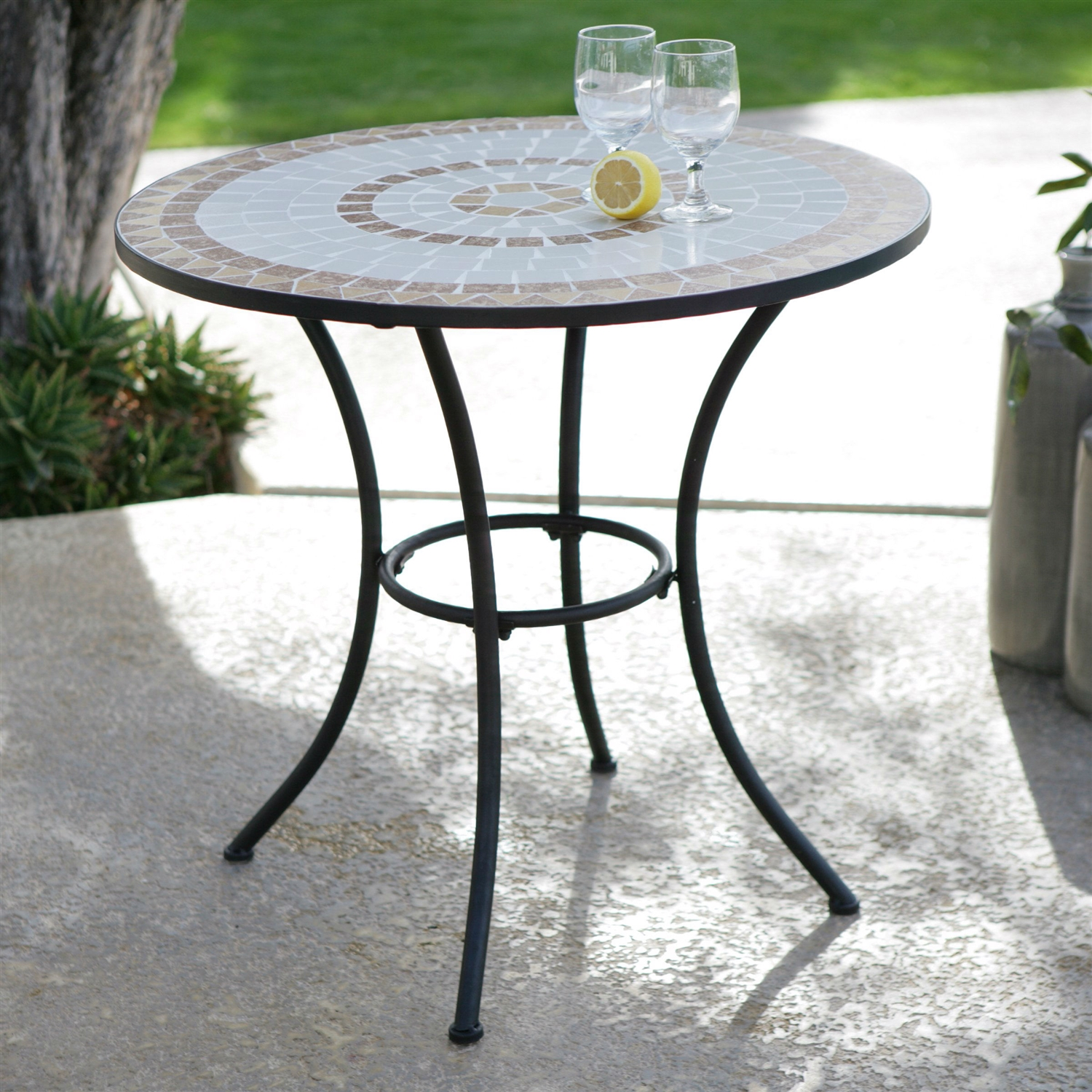 Wonderful Round Mosaic Bistro Table With Black Legs For Home Furniture Ideas