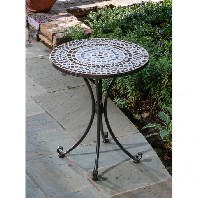 Round Mosaic Bistro Table With Black Legs For Patio Furniture Ideas
