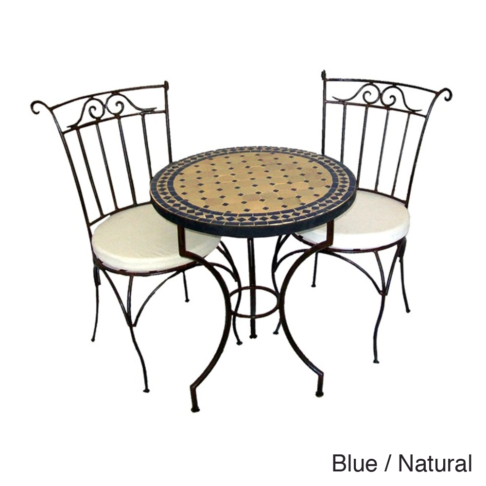 round mosaic bistro table with black legs plus matching chairs for home furniture ideas
