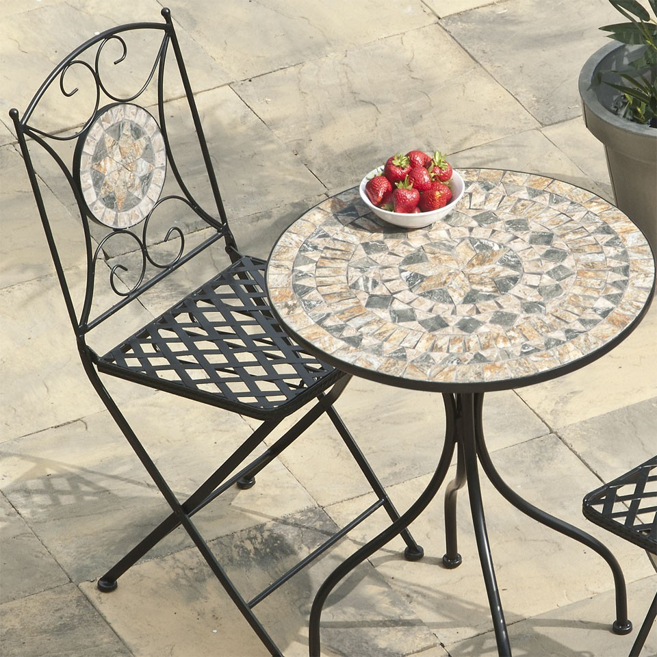 Round Mosaic Bistro Table With Matching Chair For Home Furniture Ideas