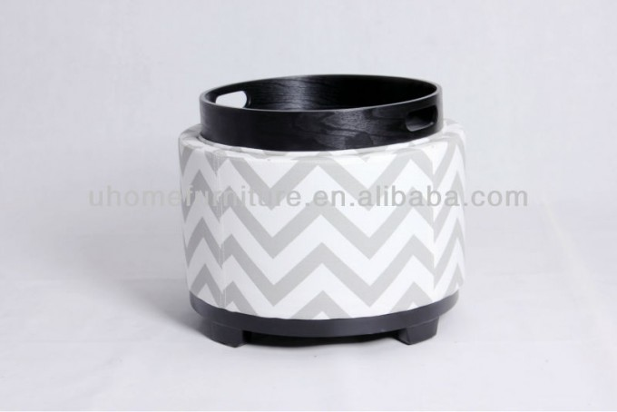 Round Ottoman With Large Ottoman Tray For Home Furniture Ideas
