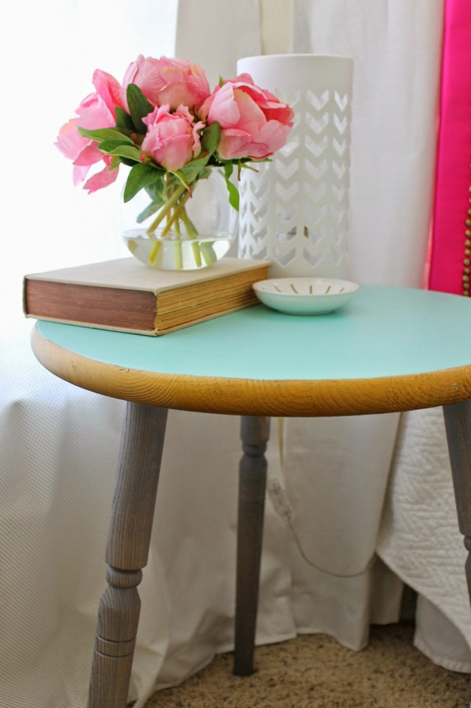 Round Turquoise Nightstand With Triple Legs Before The Window With White Curtains For Home Decor Ideas