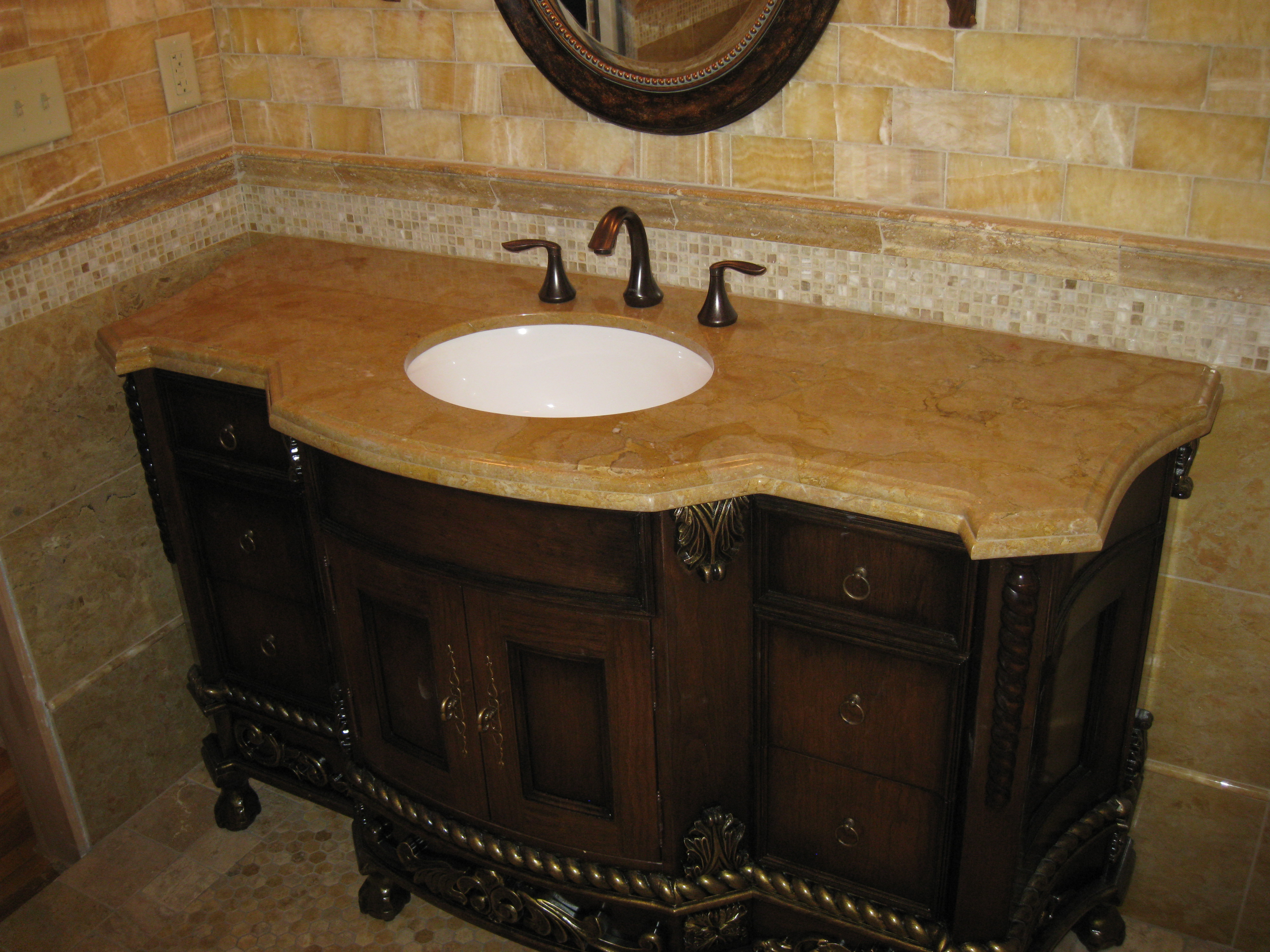Rustic brown wooden bathroom vanities with tops and white sink plus faucet for bathroom furniture ideas
