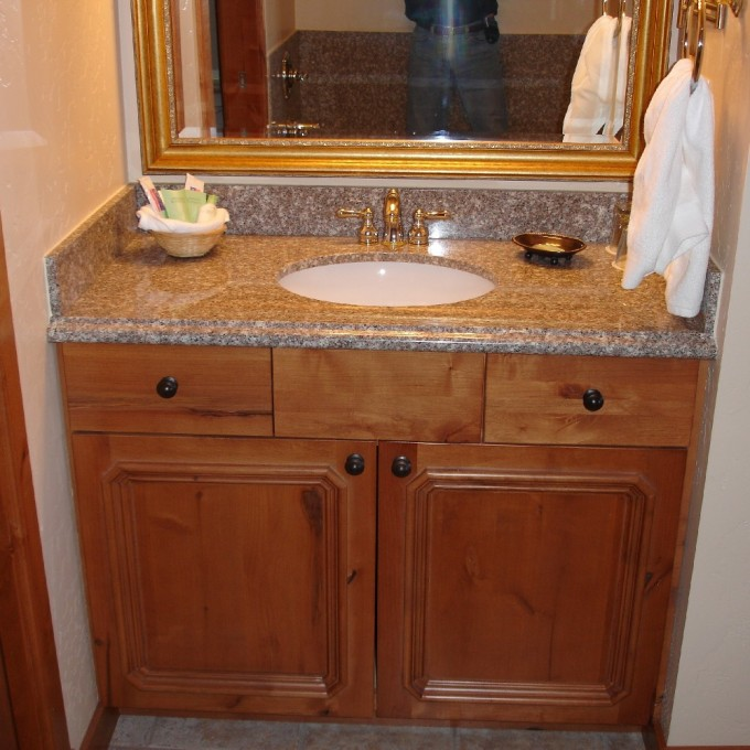 Sandy Brown Wooden Bathroom Vanities With Tops And Single Faucet Plus Sink For Bathroom Furniture Ideas