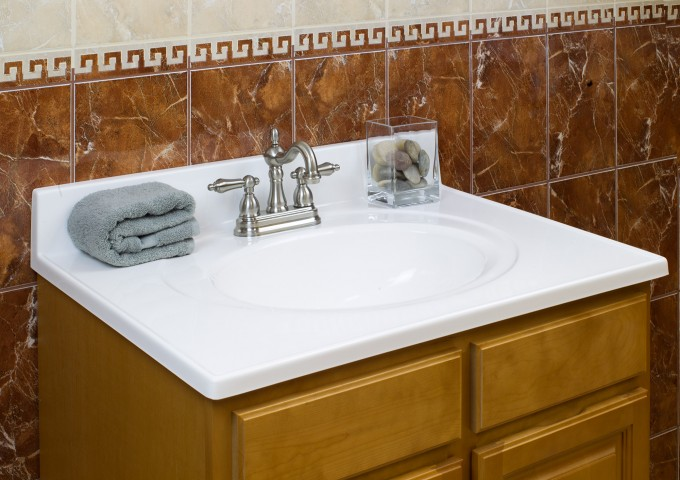 Sandy Brown Wooden Bathroom Vanities With Tops And Sink Plus Faucet For Bathroom Furniture Ideas