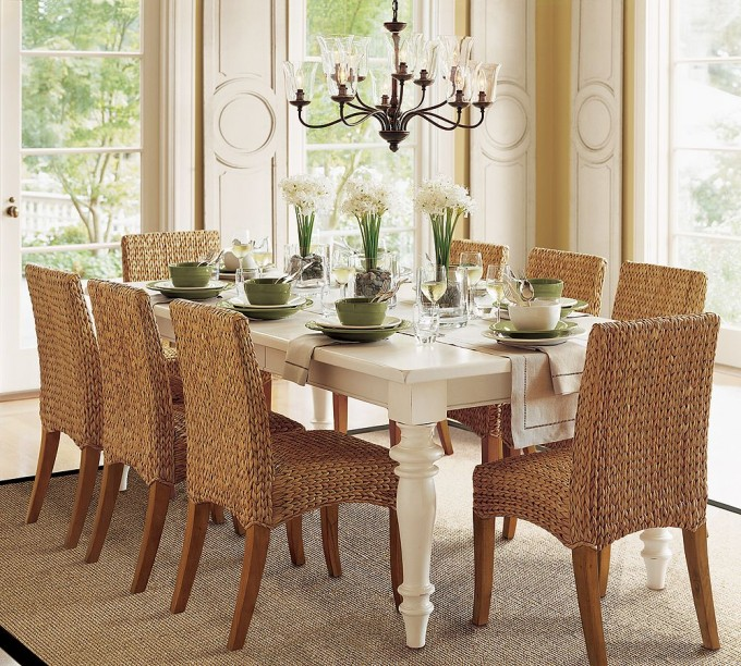Seagrass Dining Chairs Plus White Dining Table On Tan Carpet Plus Chandelier For Dining Room Decor Ideas