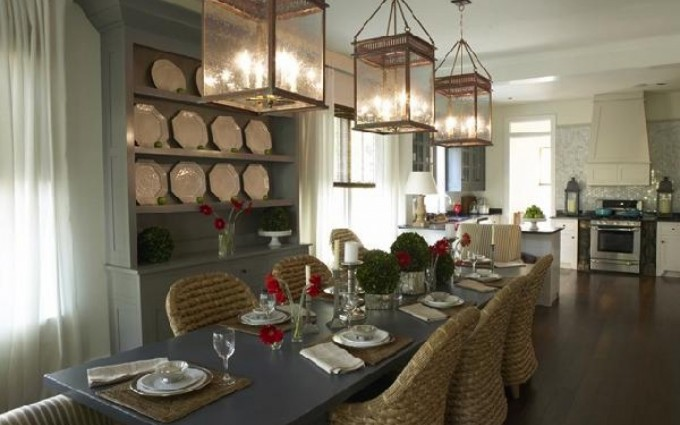 Seagrass Dining Chairs With Rectangle Grey Wooden Dining Table On Wooden Floor Plus Nice Chandelier For Inspiring Dining Room Decor Ideas