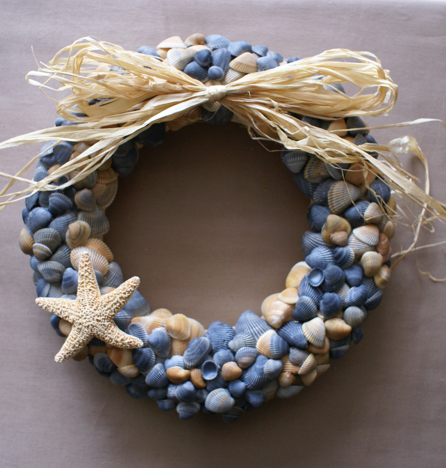 Seashell Wreath 11 In Blue Beach Wreath Coastal Decor For Wall Decor Ideas