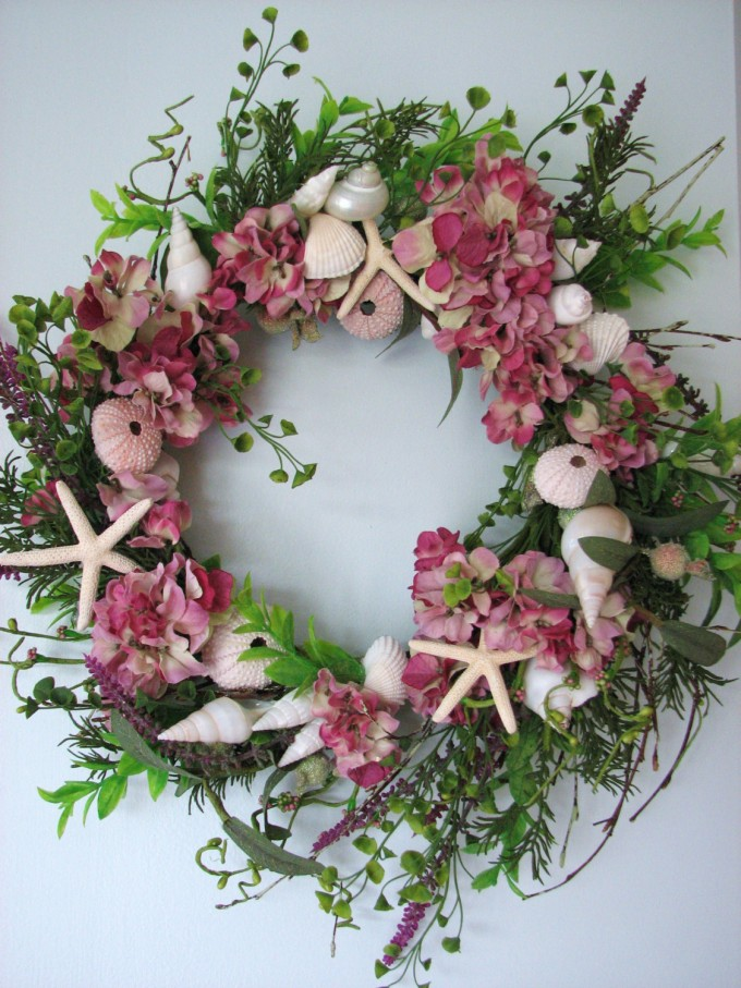 Seashell Wreath In Pink With Green Leaf For Wall Accessories Ideas