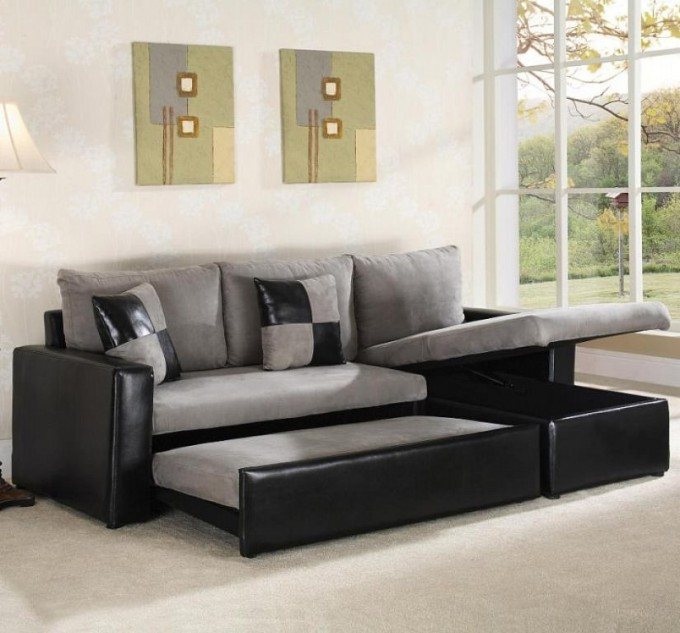 Sectional Sleeper Sofa In Black And Grey With Storage On White Carpet Matched With White Wall For Living Room Decor Ideas