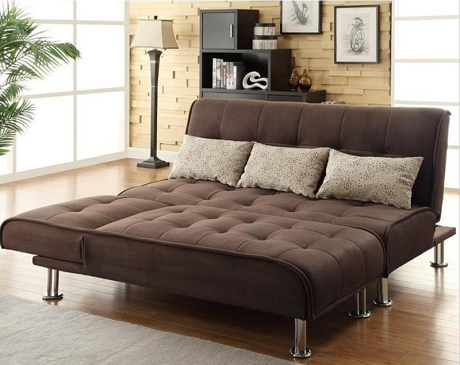 Sectional Sleeper Sofa In Dark Brown On Wooden Floor Plus White Carpet Plus Bookcase And Floor Standing Lamp For Living Room Decor Ideas