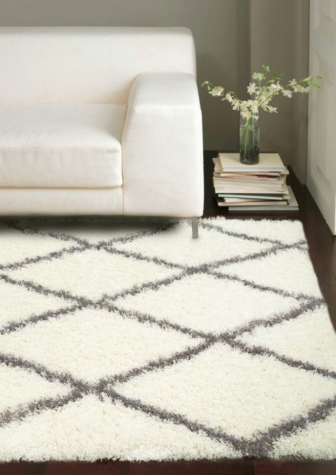Shag Rugs With Grey Line On Wooden Floor Plus White Sofa For Living Room Decor Ideas