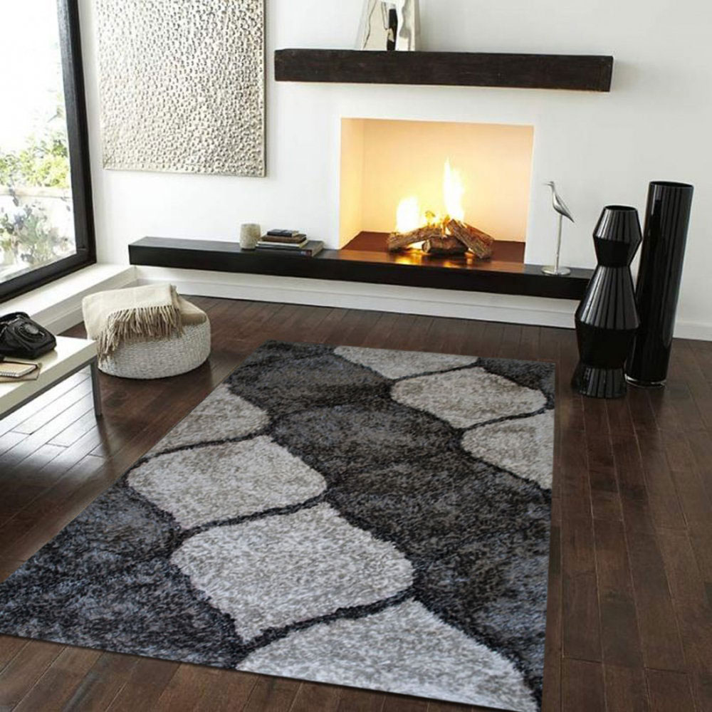 Shaggy 5x7 Area Rugs In Black And White On Wooden Floor Matched With White Wall With Fireplace For Family Room Decor Ideas