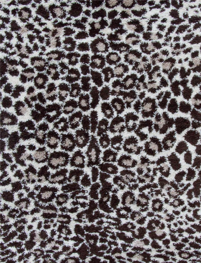 Shaggy Shag Leopard 5x7 Area Rugs In Black And White For Charming Floor Decor Ideas