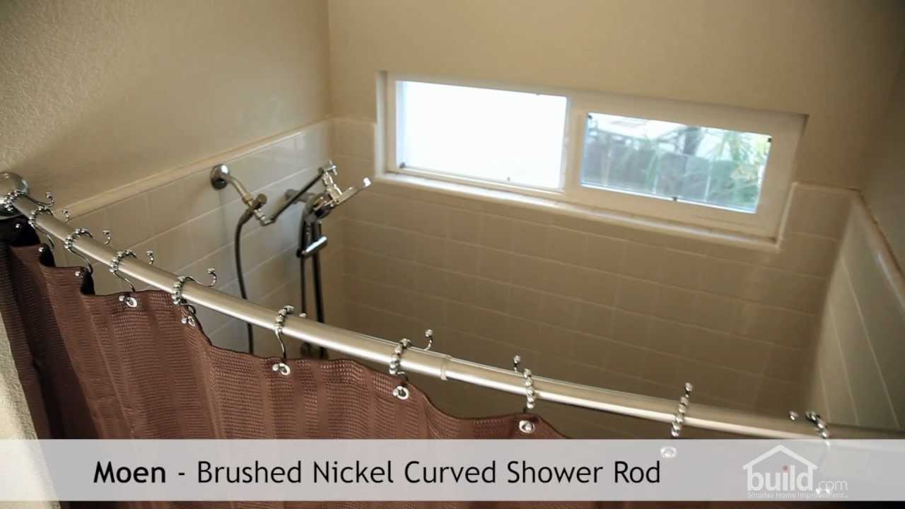 Silver Curved Shower Curtain Rod With Brown Curtain Plus White Tile Wall Plus Shower Sets For Bathroom Decor Ideas