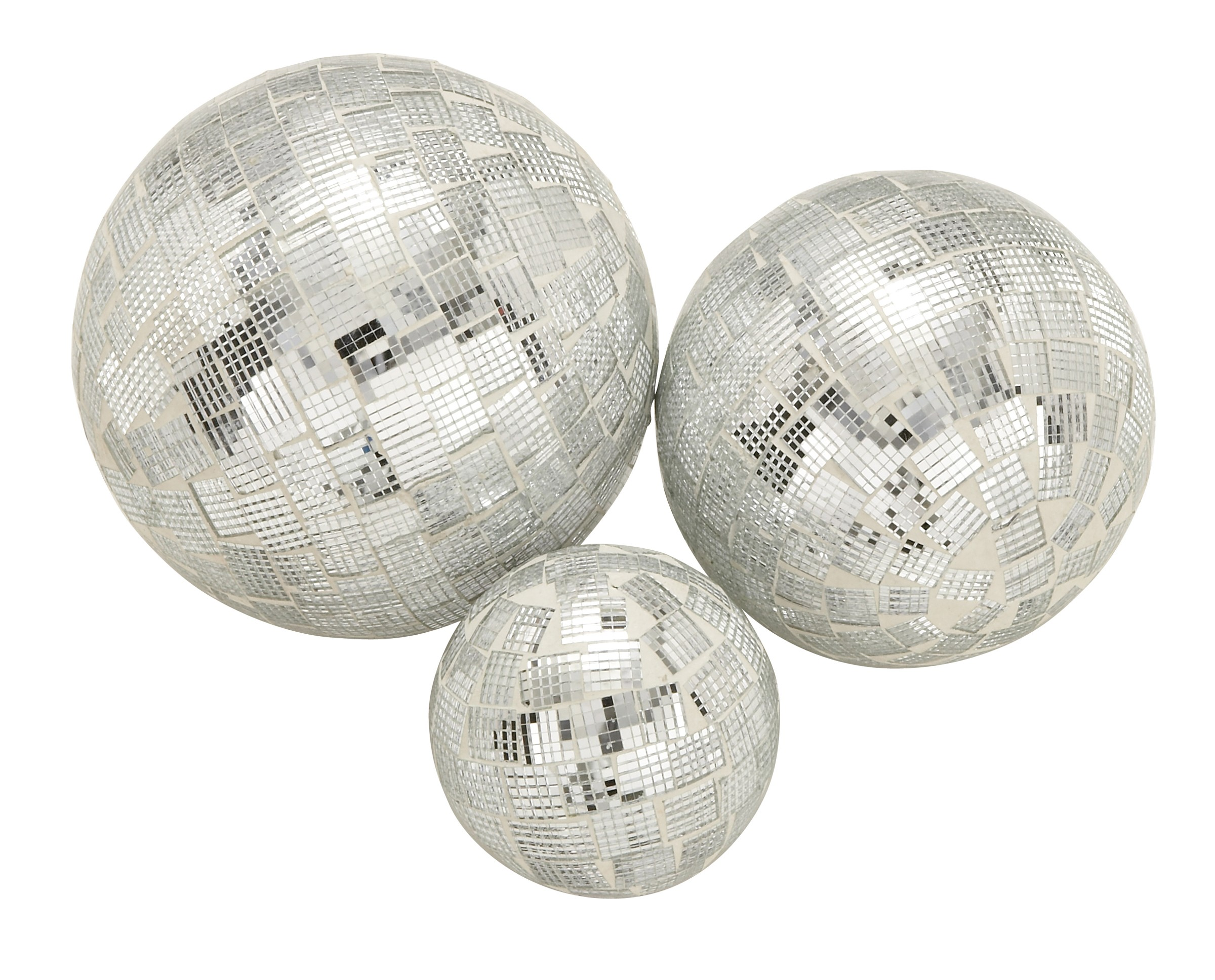 Silver Disco decorative orbs set of three for home accessories ideas