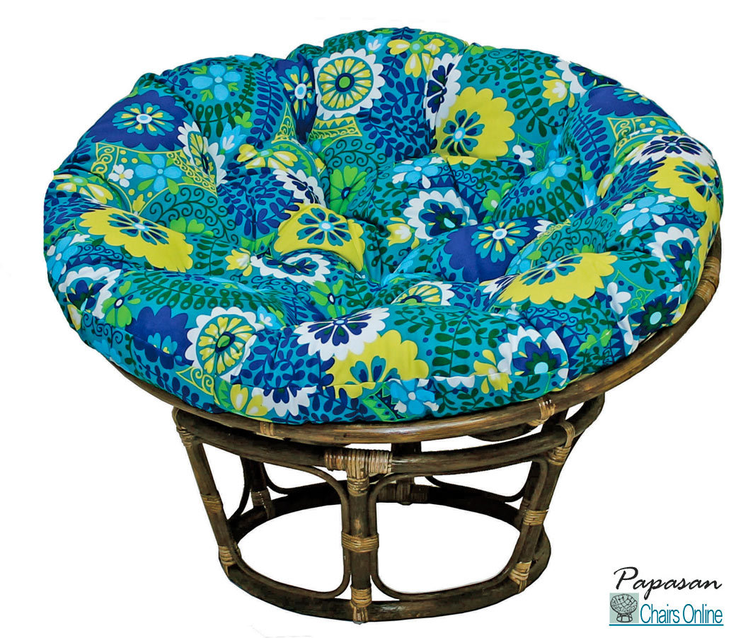 Single Outdoor Papasan Chair With Colorful Fabric Cushion Seat For Charming Furniture Ideas